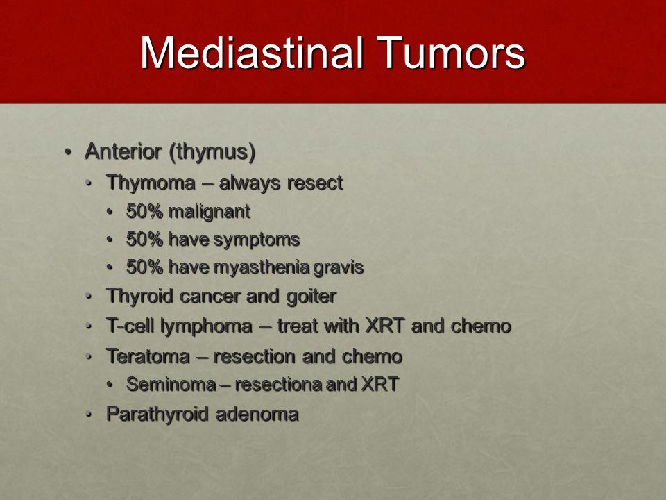 Mediastinal Tumors Anterior (thymus) Thymoma – always resect