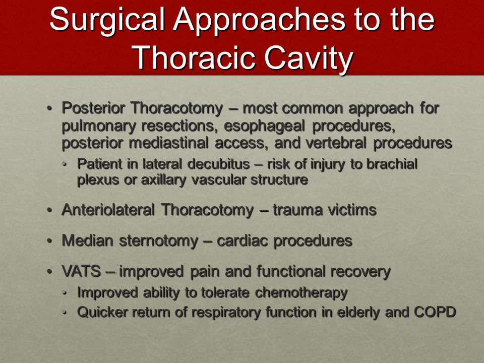 Surgical Approaches to the Thoracic Cavity