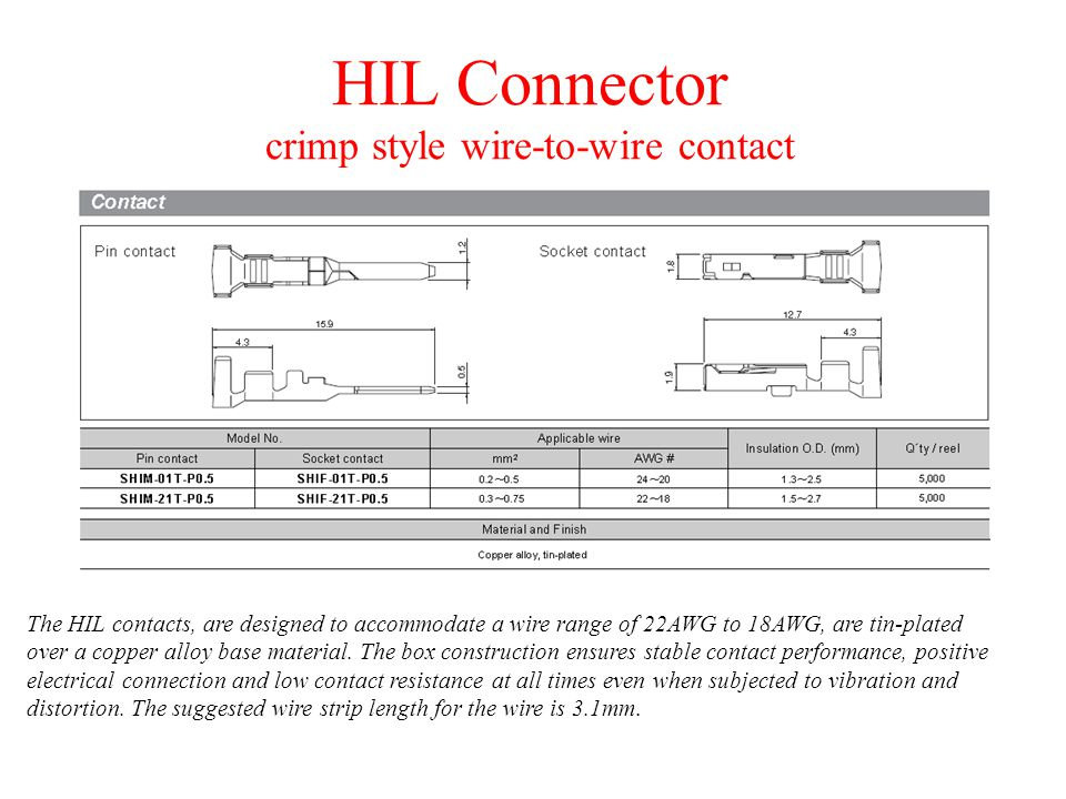 HIL Connector crimp style wire-to-wire contact