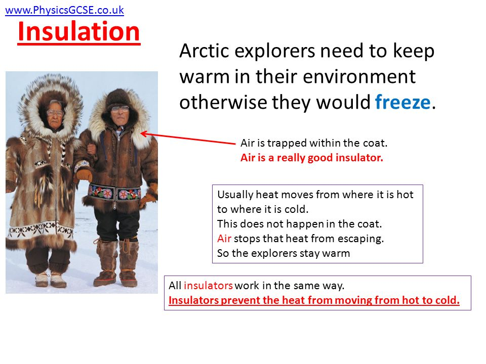 Insulation www.PhysicsGCSE.co.uk. Arctic explorers need to keep warm in their environment otherwise they would freeze.
