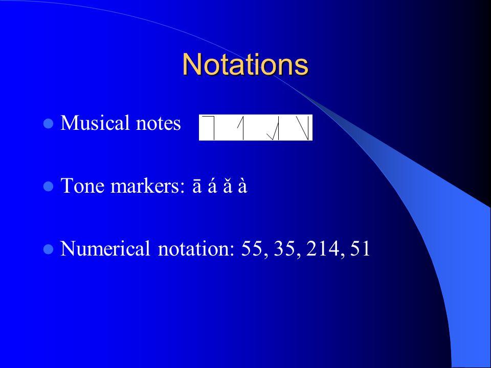 Notations Musical notes Tone markers: ā á ǎ à