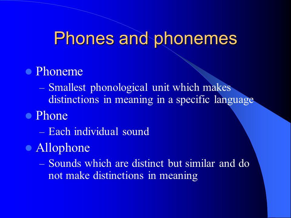 Phones and phonemes Phoneme Phone Allophone