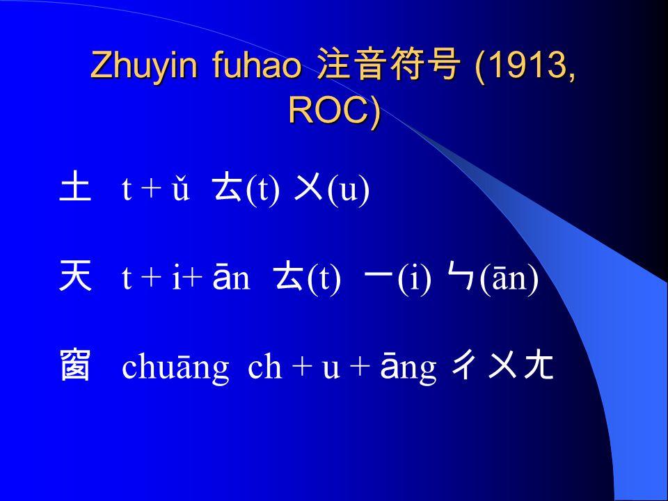 Zhuyin fuhao 注音符号 (1913, ROC)