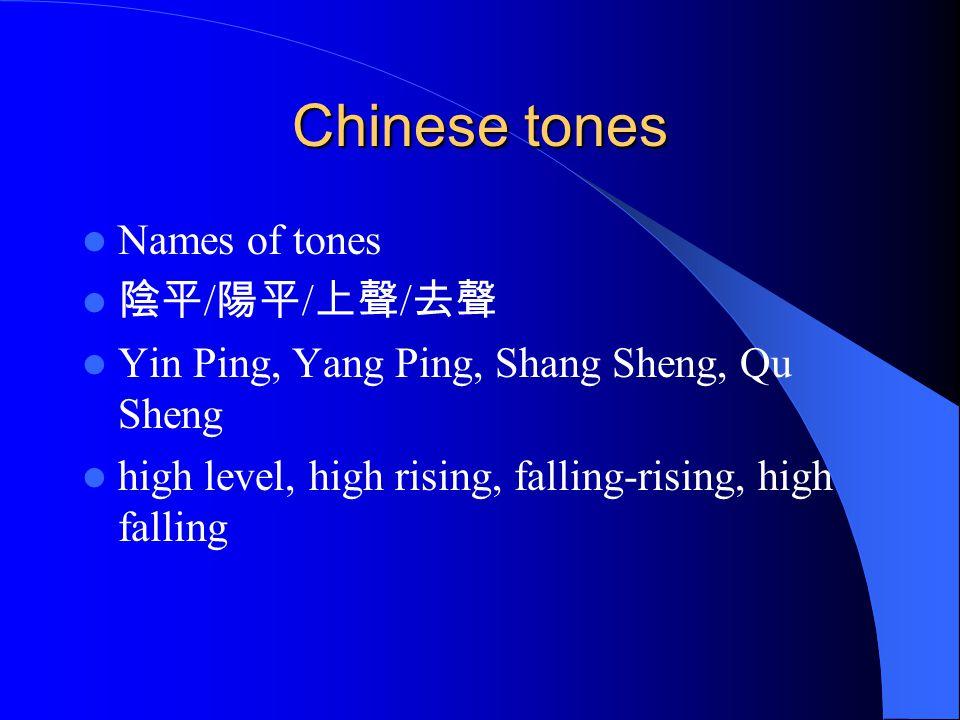 Chinese tones Names of tones 陰平/陽平/上聲/去聲