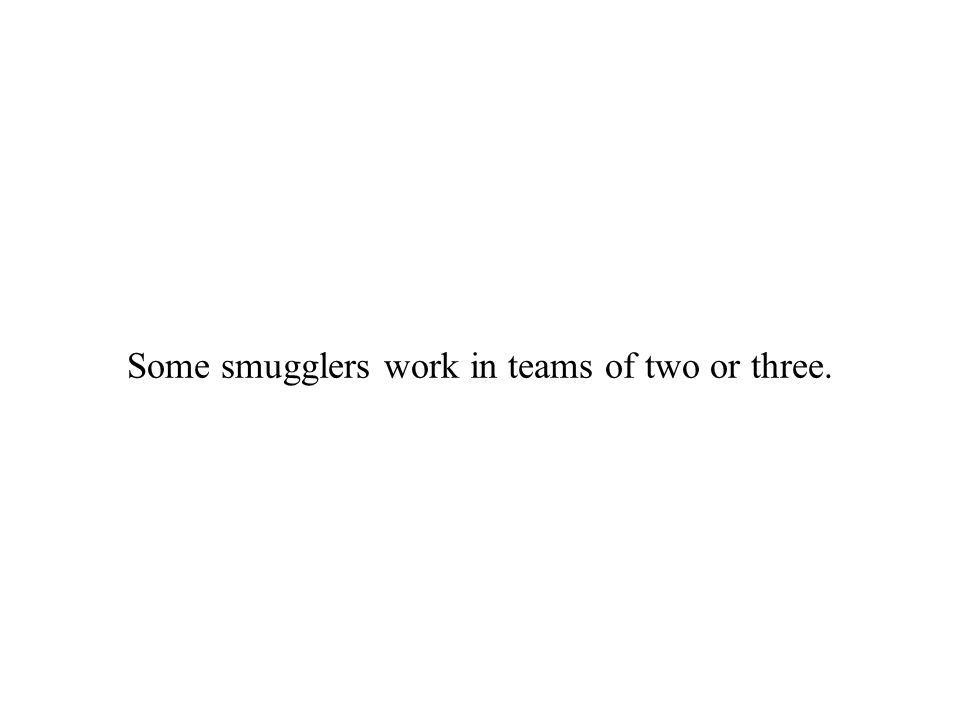 Some smugglers work in teams of two or three.