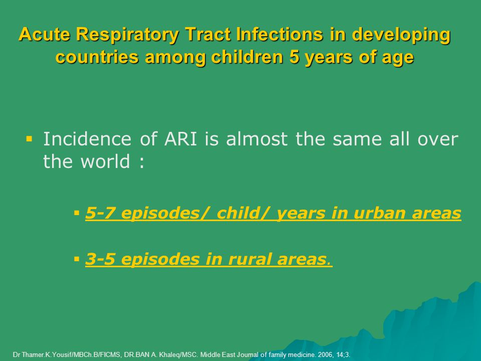 Incidence of ARI is almost the same all over the world :