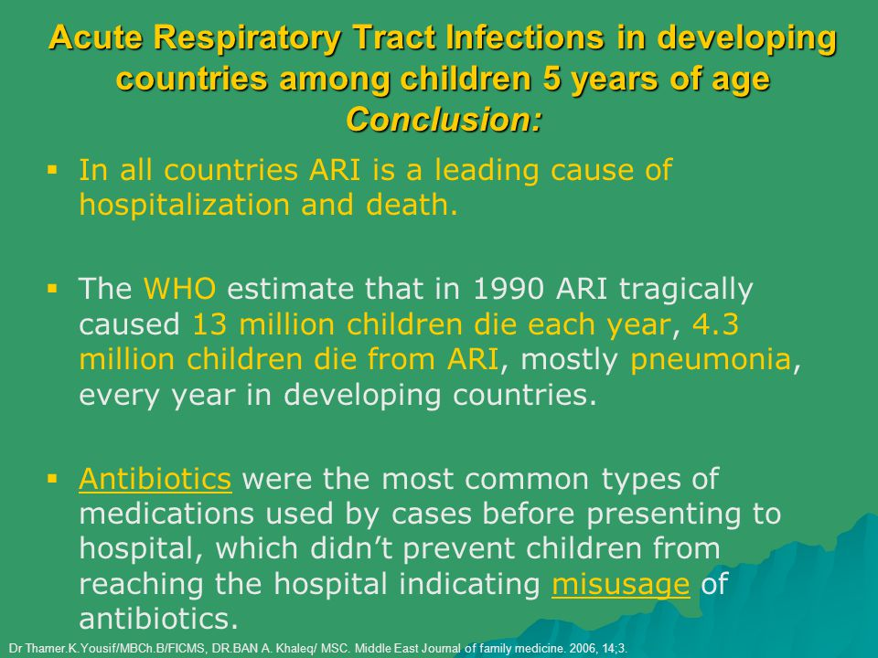 Acute Respiratory Tract Infections in developing countries among children 5 years of age Conclusion: