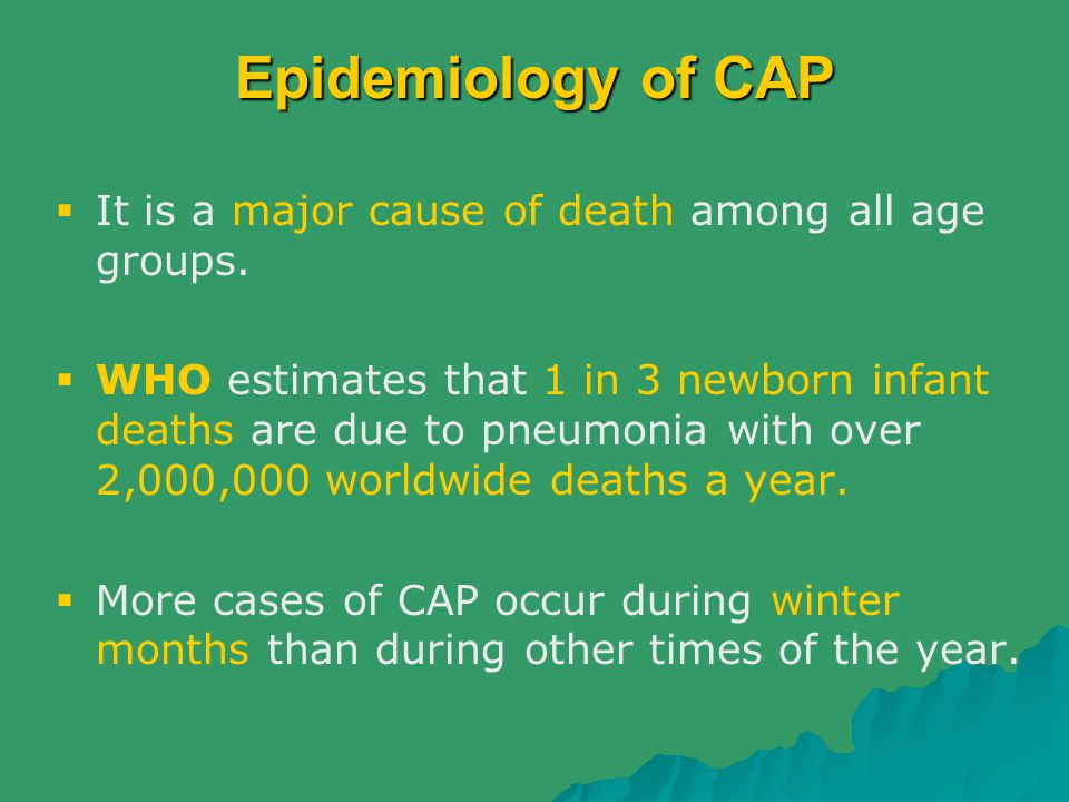 Epidemiology of CAP It is a major cause of death among all age groups.