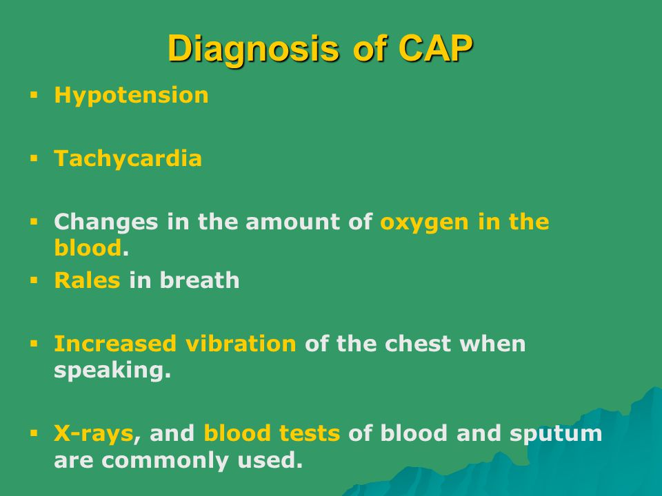 Diagnosis of CAP Hypotension Tachycardia