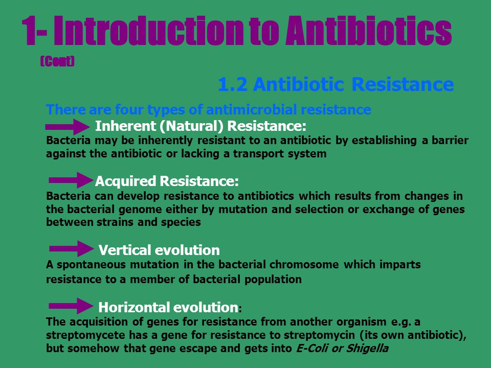 1- Introduction to Antibiotics (Cont)