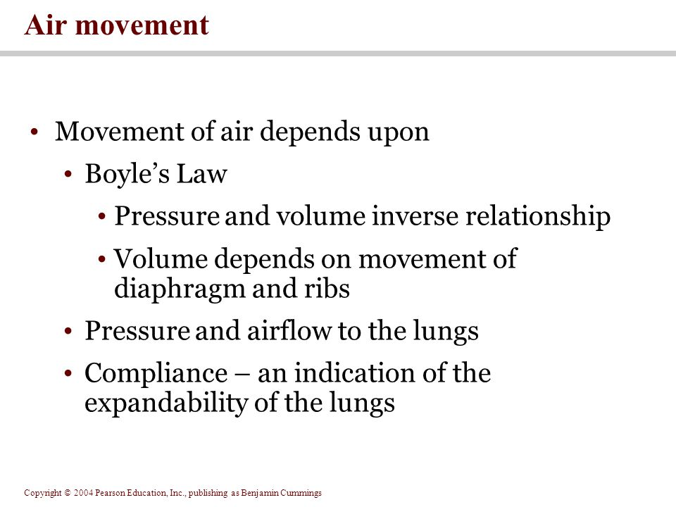 Air movement Movement of air depends upon Boyle's Law