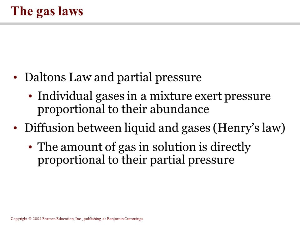 The gas laws Daltons Law and partial pressure