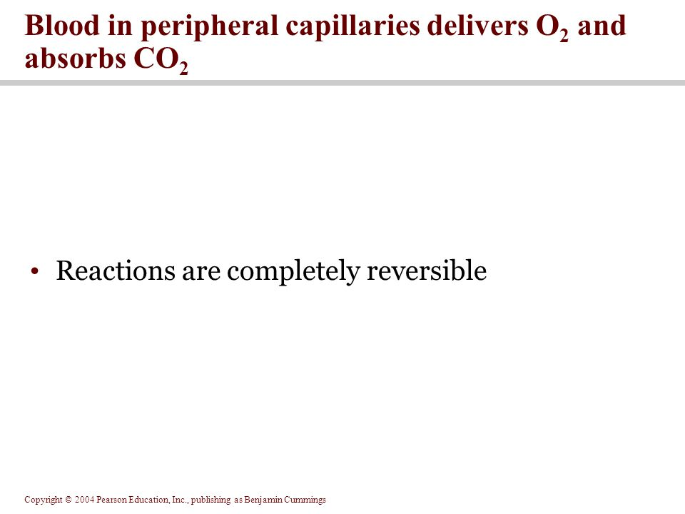 Blood in peripheral capillaries delivers O2 and absorbs CO2