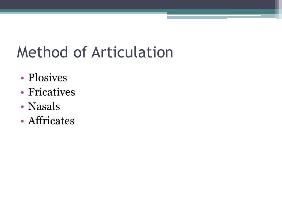 Method of Articulation