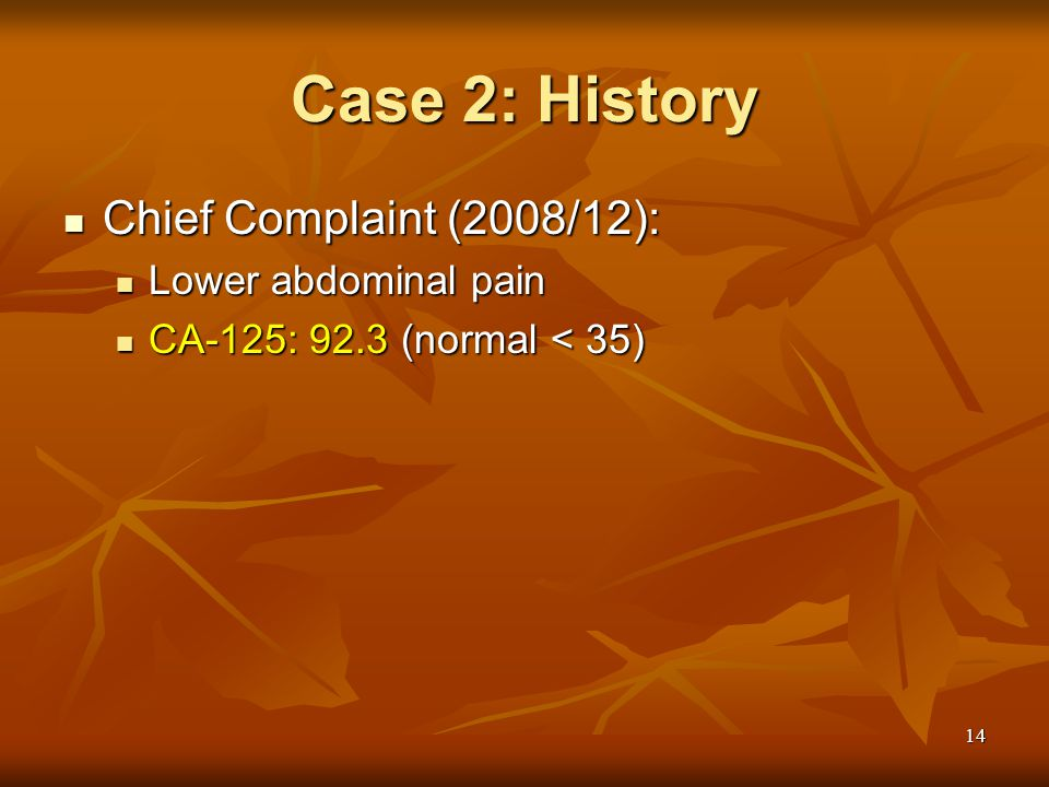 Case 2: History Chief Complaint (2008/12): Lower abdominal pain