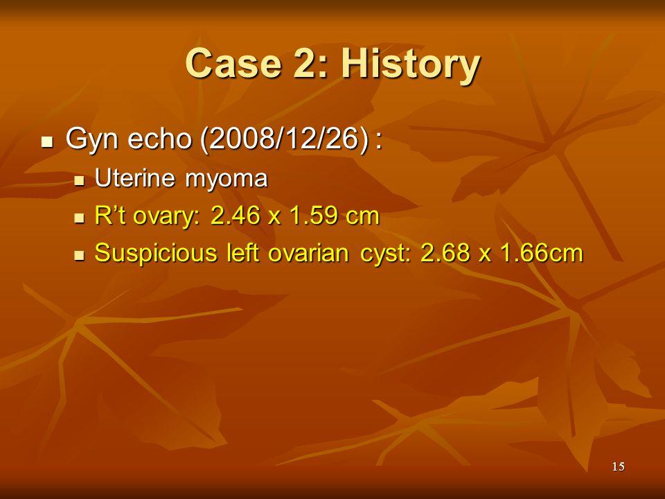 Case 2: History Gyn echo (2008/12/26) : Uterine myoma