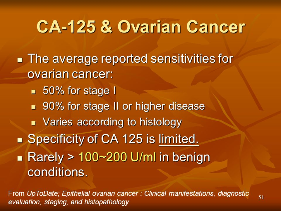CA-125 & Ovarian Cancer The average reported sensitivities for ovarian cancer: 50% for stage I. 90% for stage II or higher disease.