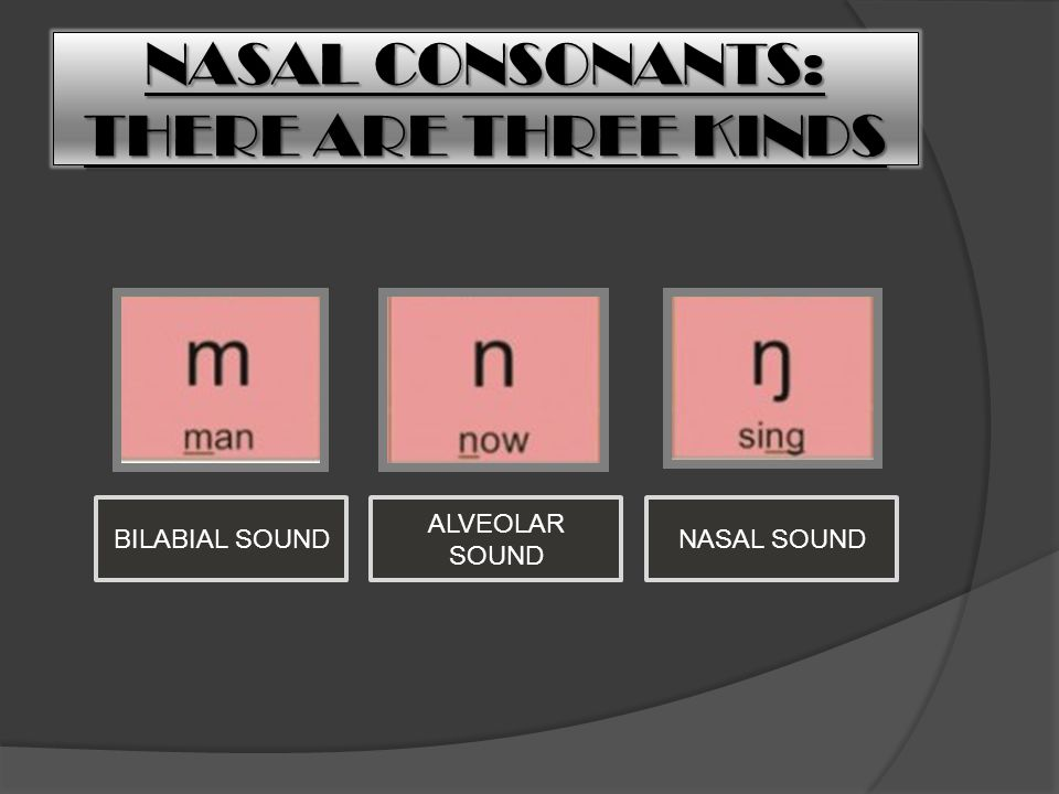 NASAL CONSONANTS: THERE ARE THREE KINDS