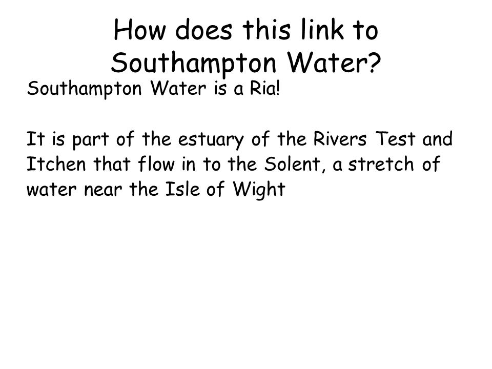 How does this link to Southampton Water