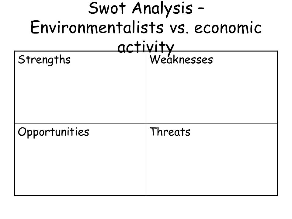 Swot Analysis – Environmentalists vs. economic activity