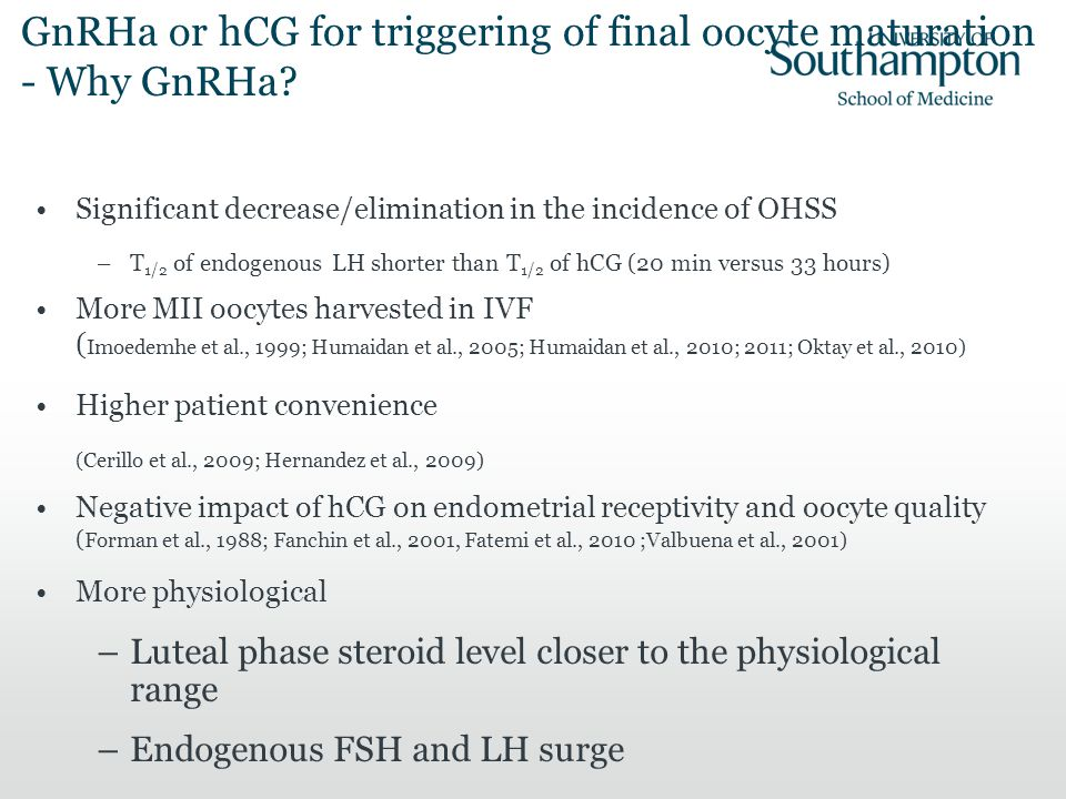 GnRHa or hCG for triggering of final oocyte maturation - Why GnRHa
