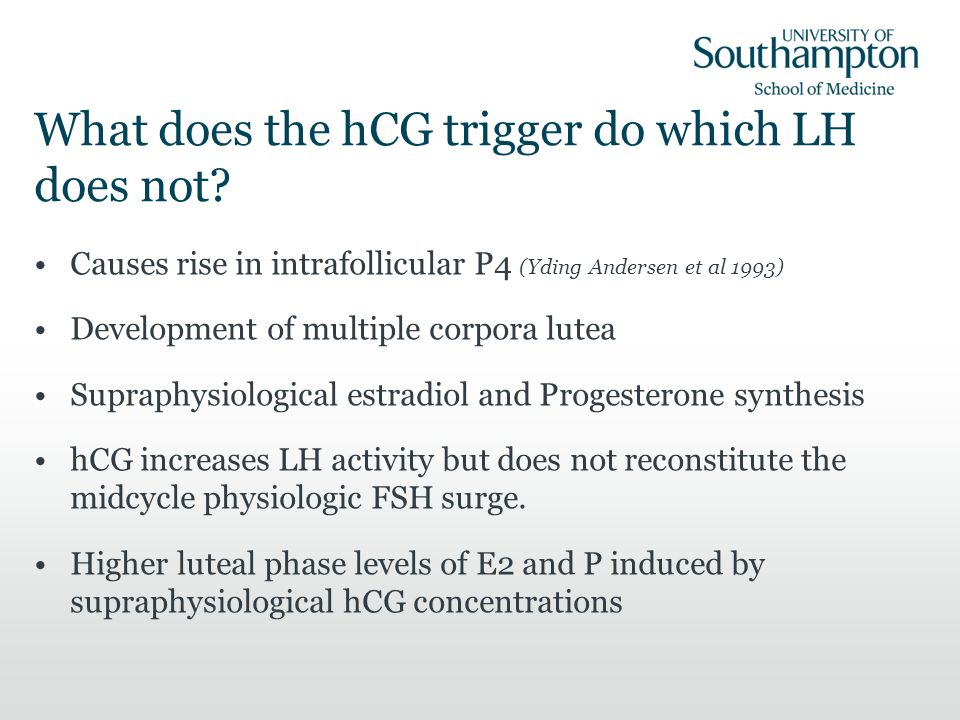 What does the hCG trigger do which LH does not