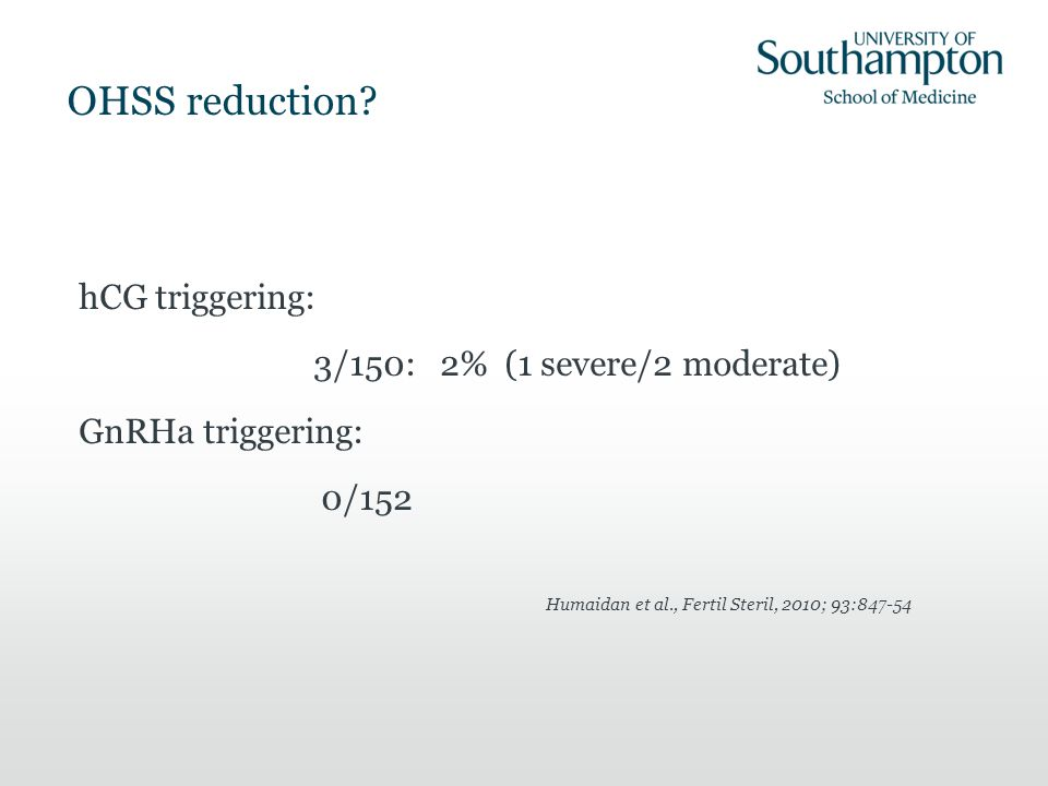 Humaidan et al., Fertil Steril, 2010; 93:847-54