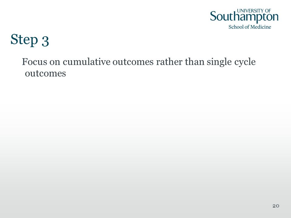 Step 3 Focus on cumulative outcomes rather than single cycle outcomes