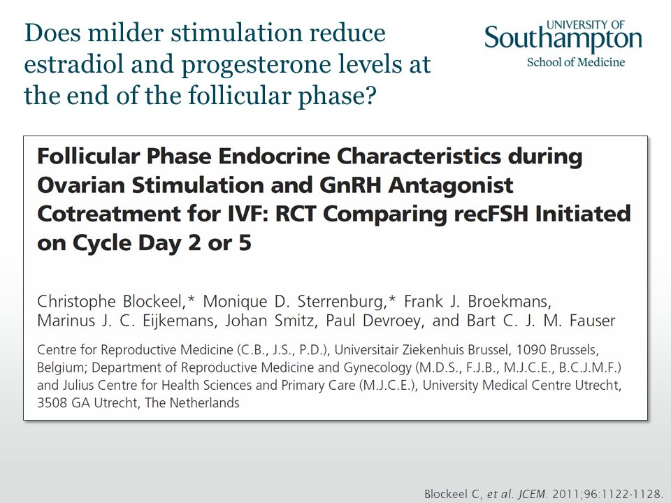 Does milder stimulation reduce estradiol and progesterone levels at the end of the follicular phase