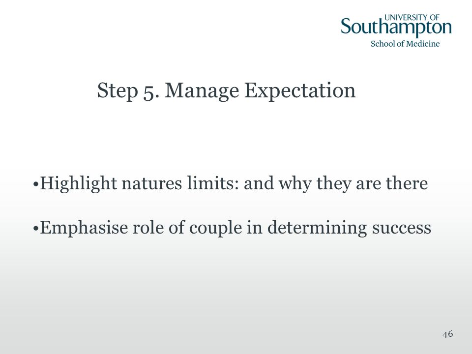 Step 5. Manage Expectation