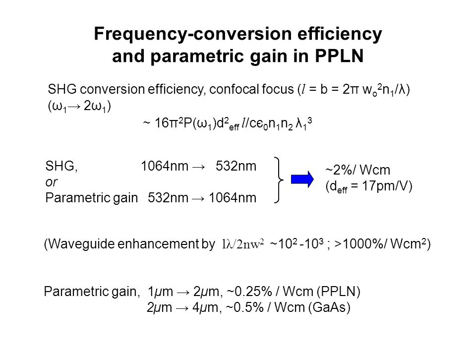 Frequency-conversion efficiency and parametric gain in PPLN