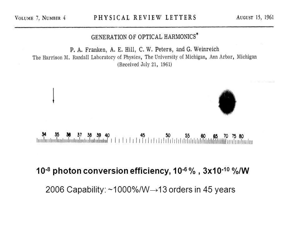 10-8 photon conversion efficiency, 10-6 % , 3x10-10 %/W