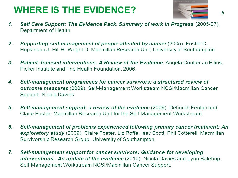 WHERE IS THE EVIDENCE Self Care Support: The Evidence Pack. Summary of work in Progress (2005-07). Department of Health.