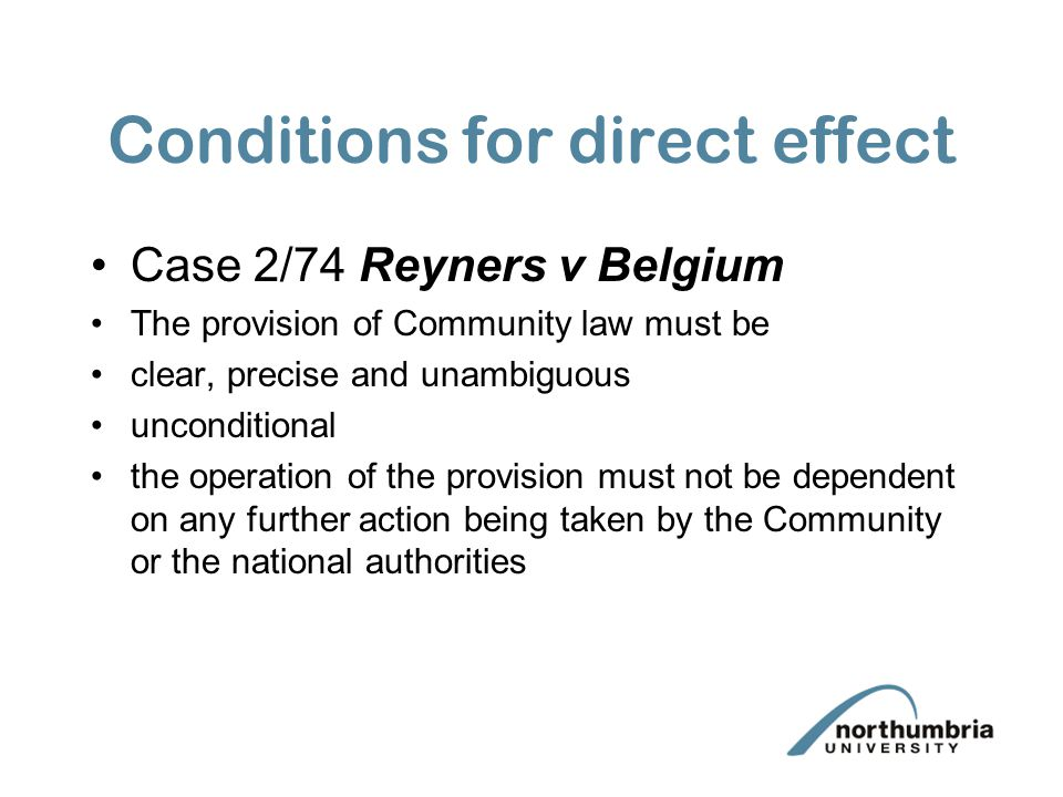 Conditions for direct effect