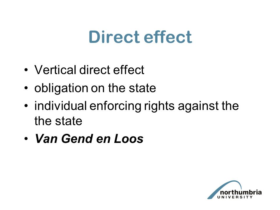 Direct effect Vertical direct effect obligation on the state