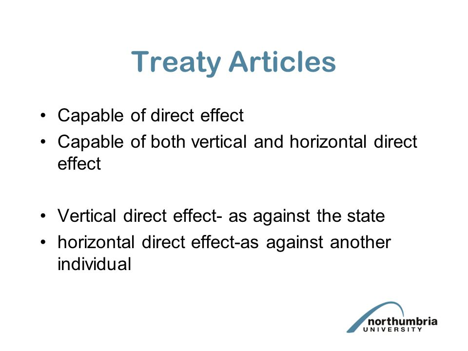 Treaty Articles Capable of direct effect