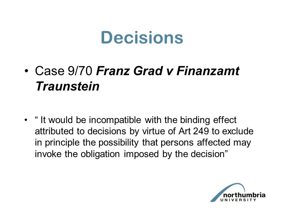 Decisions Case 9/70 Franz Grad v Finanzamt Traunstein