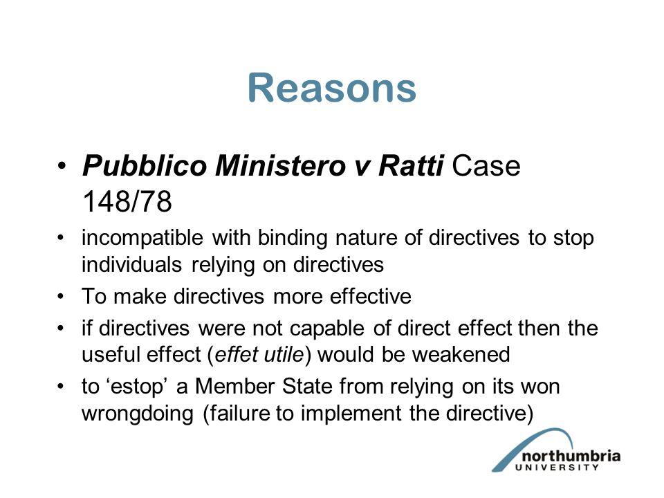 Reasons Pubblico Ministero v Ratti Case 148/78