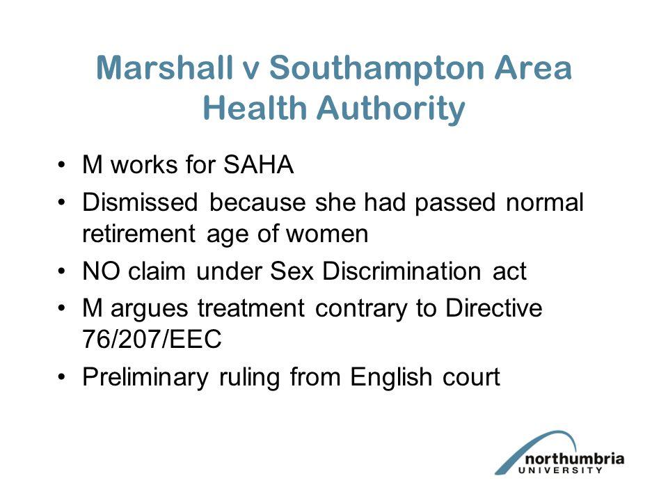 Marshall v Southampton Area Health Authority
