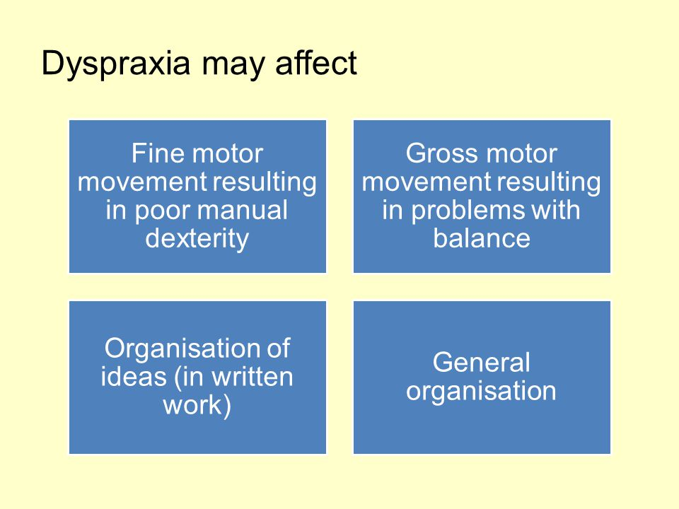 Dyspraxia may affect Fine motor movement resulting in poor manual dexterity. Gross motor movement resulting in problems with balance.