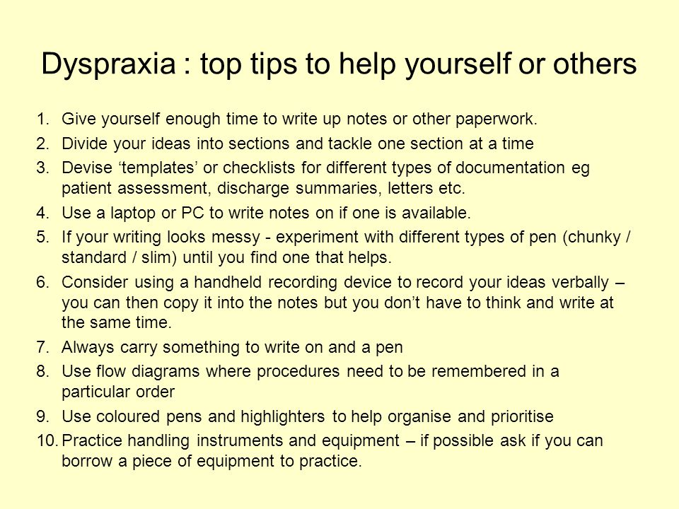Dyspraxia : top tips to help yourself or others