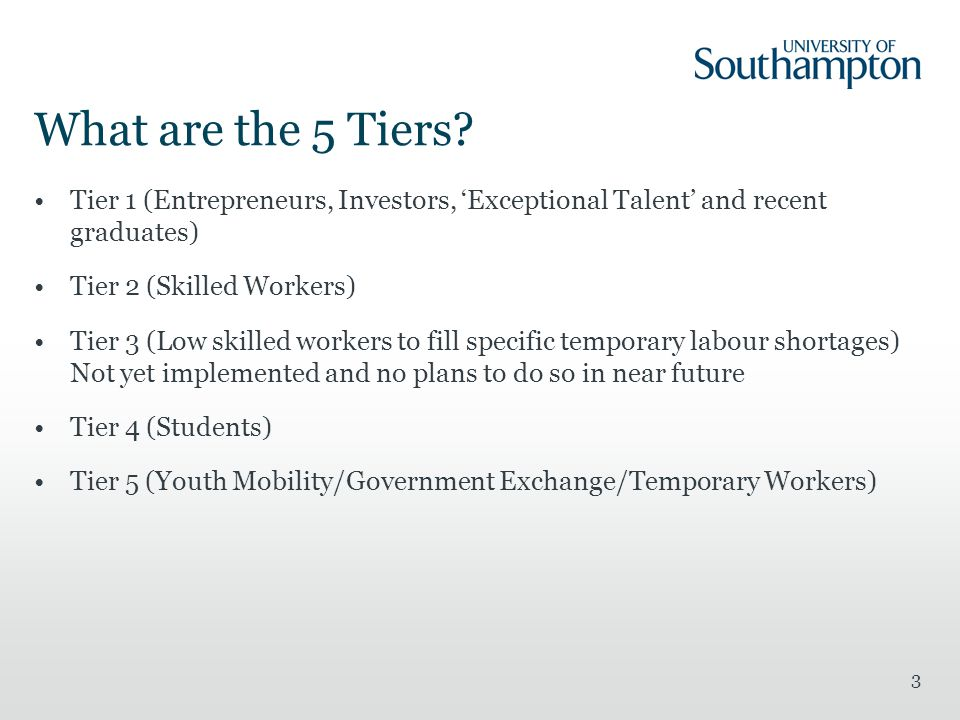 What are the 5 Tiers Tier 1 (Entrepreneurs, Investors, 'Exceptional Talent' and recent graduates)
