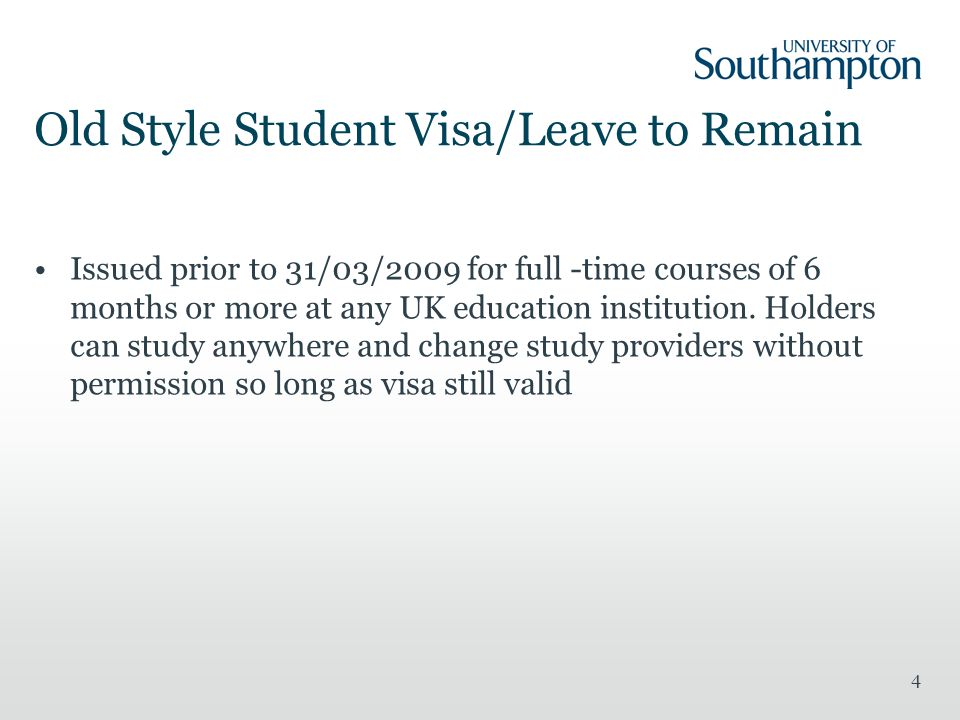 Old Style Student Visa/Leave to Remain