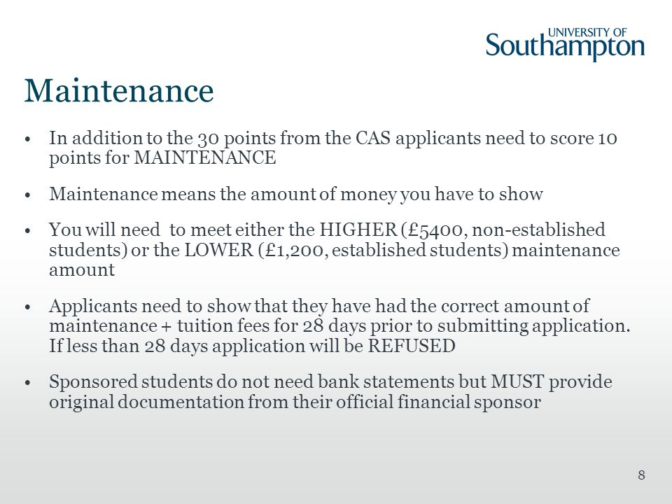 Maintenance In addition to the 30 points from the CAS applicants need to score 10 points for MAINTENANCE.