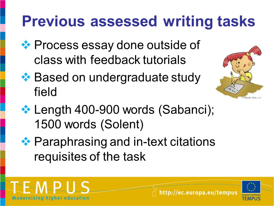 Previous assessed writing tasks