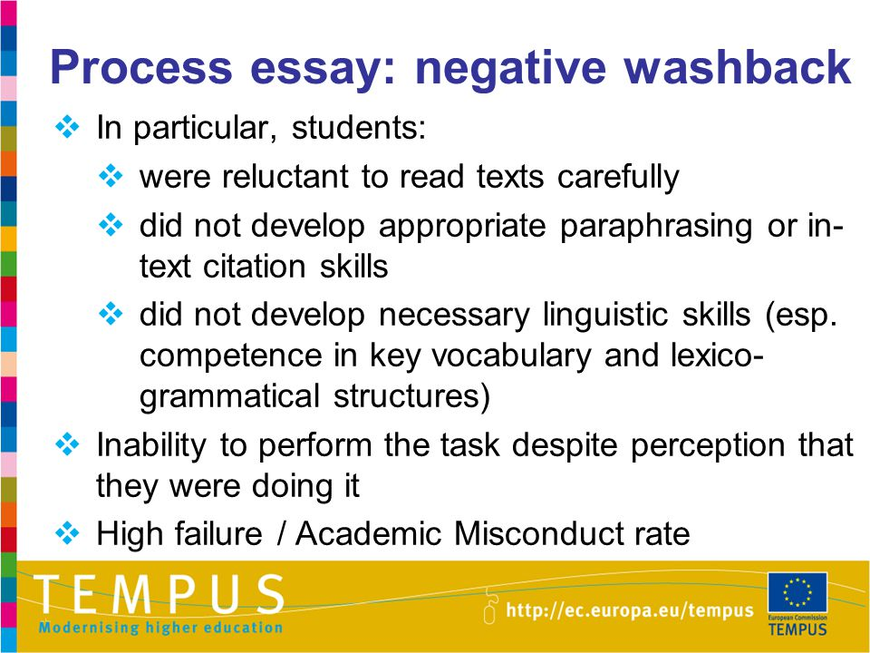 Process essay: negative washback