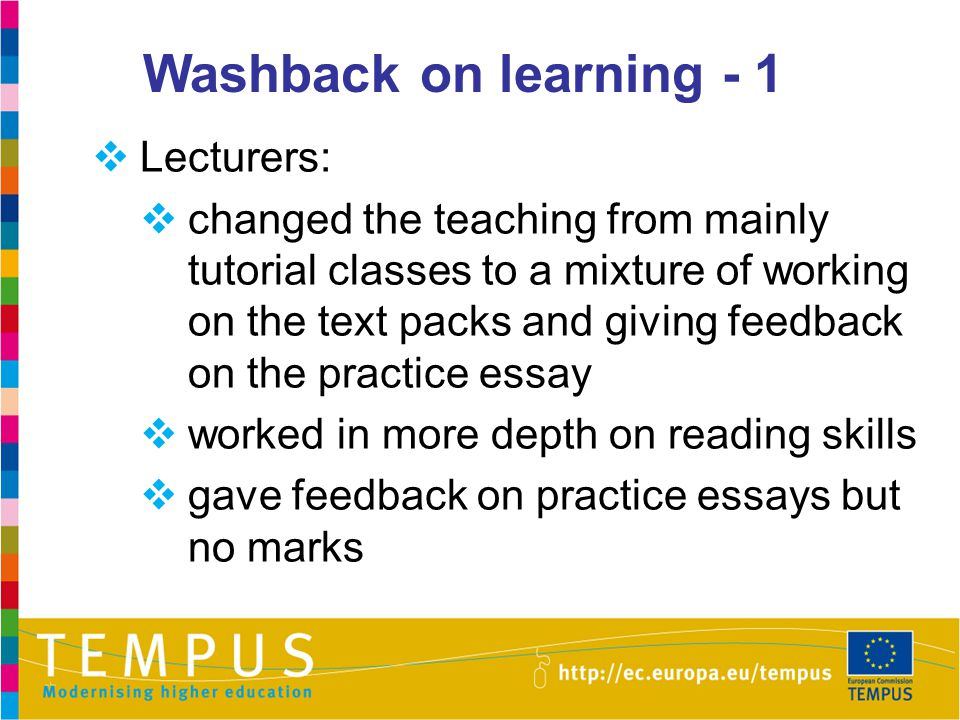 Washback on learning - 1 Lecturers: