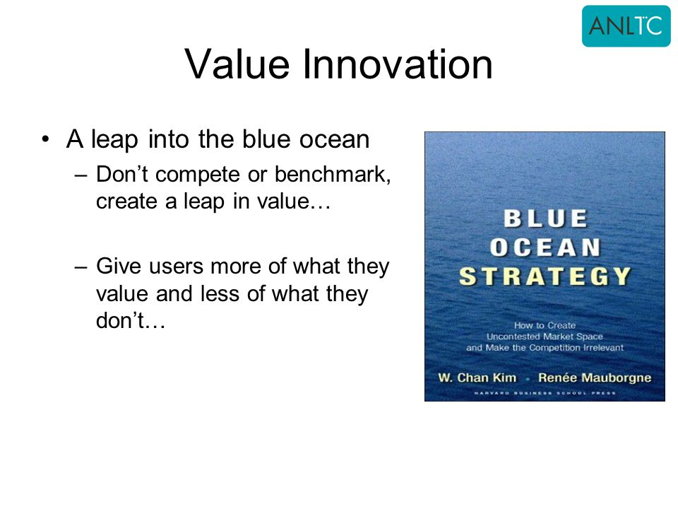Value Innovation A leap into the blue ocean