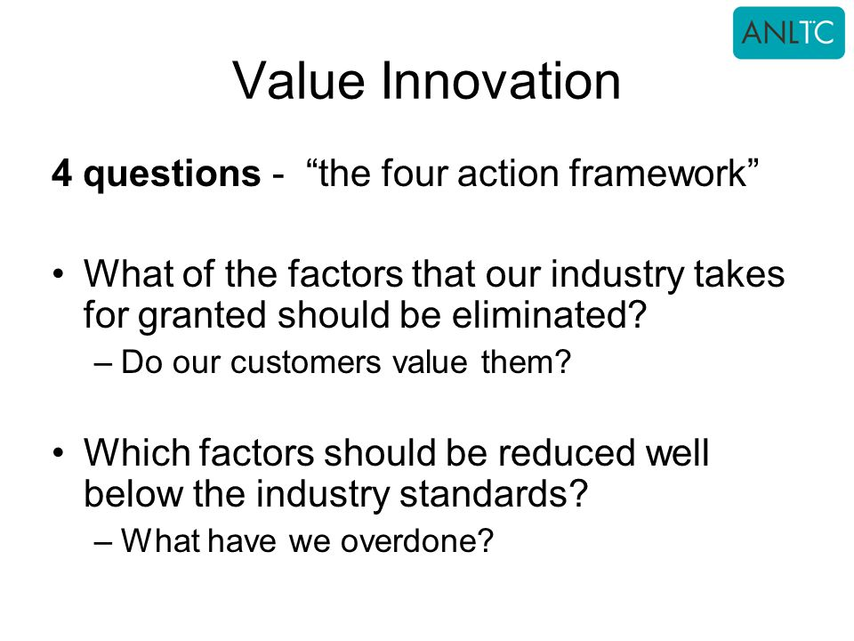 Value Innovation 4 questions - the four action framework