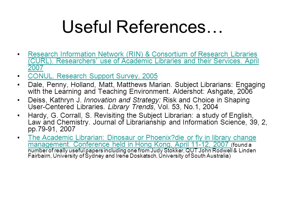 Useful References…